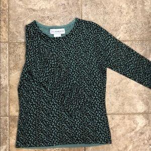 Leopard print Sag Harbor sweater.  3/4 sleeve.